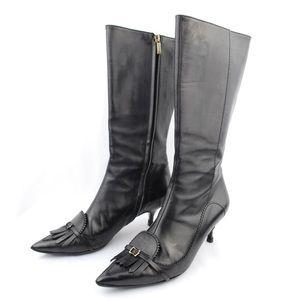 Burberry Black Kitten Heel Knee High Boots